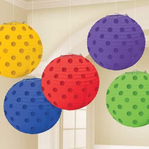 Rainbow Foil Dot Hanging Lantern Decorations