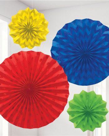 Rainbow Paper Glitter Fan Decorations