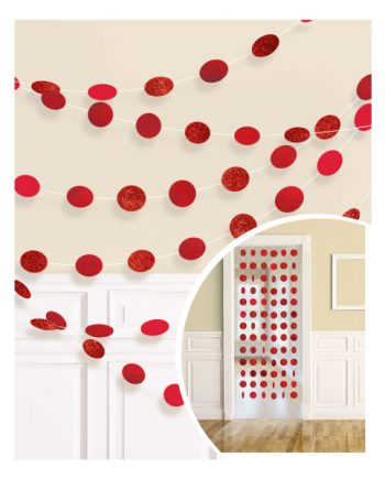Red Glitter Hanging String Decorations