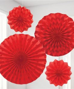 Red Paper Glitter Fan Decorations