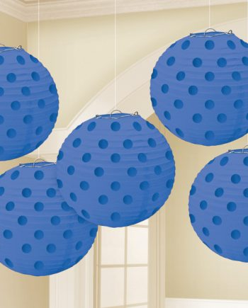 Royal Blue Foil Dot Hanging Lantern Decorations