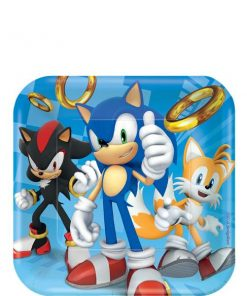 Sonic The Hedgehog Square Paper Dessert Plates