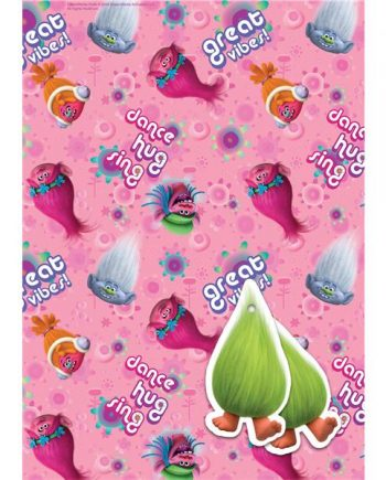 Trolls Party Wrapping Paper & Tags
