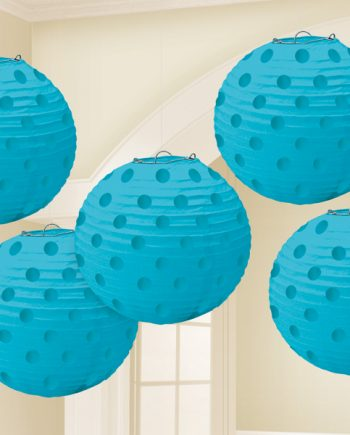 Turquoise Foil Dot Hanging Lantern Decorations