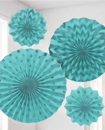 Turquoise Paper Glitter Fan Decorations