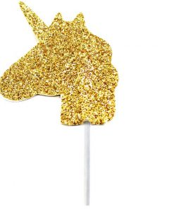 Unicorn Gold Glitter Cake Topper - 3.5cm