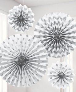 White Paper Glitter Fan Decorations