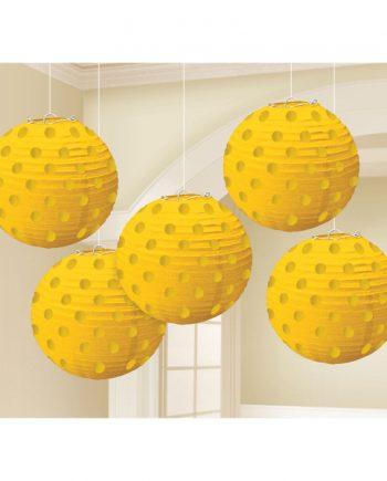 Yellow Foil Dot Hanging Lantern Decorations