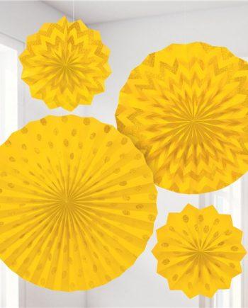 Yellow Paper Glitter Fan Decorations