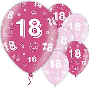18th Birthday Pink Latex Balloons