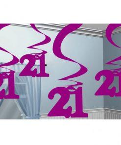 21st Birthday Pink Hanging Swirl Decorations