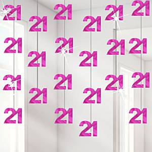 21st Birthday Hot Pink Hanging String Decoration