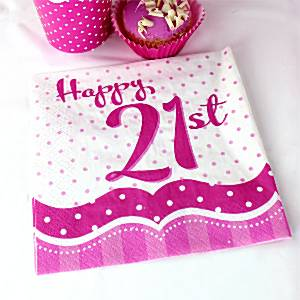 21st Birthday Party Perfectly Pink Paper Napkins