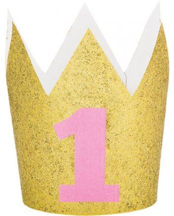 Age 1 Gold Glitter Mini Crown