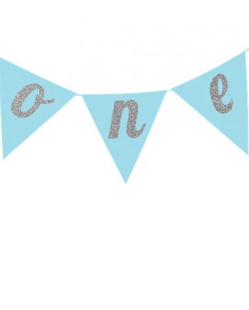 Age One Blue Glitter Cake Bunting