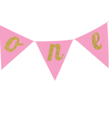 Age One Pink Glitter Cake Bunting