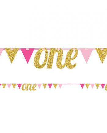 Age One Pink & Gold Glitter Bunting
