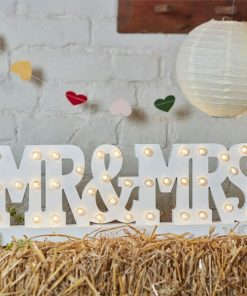 Boho Wedding Mr & Mrs Wooden Light Decoration