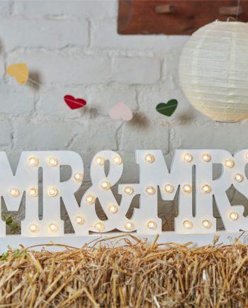 Boho Wedding Mr & Mrs Wooden Light Decoration
