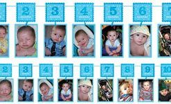 Boy's 1st Birthday Blue Glitter Garland Photo Holder