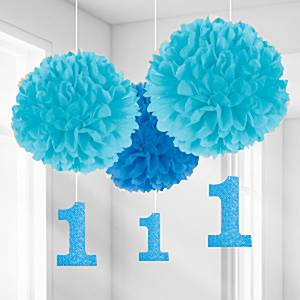 Boy's 1st Birthday Pom Pom Decorations