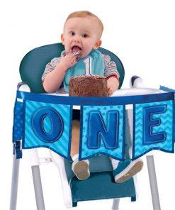 Boy's First Birthday Blue High Chair Decoration