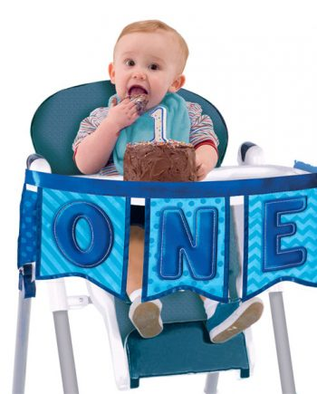 Boy's First Birthday Blue High Chair Decoration