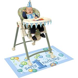 First Birthday Balloons Blue High Chair Decorating Kit