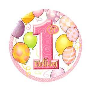 First Birthday Balloons Pink Party Paper Plates
