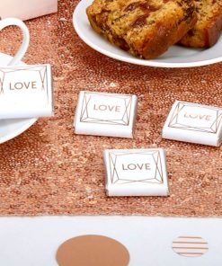 Geo Blush Wedding Love Chocolate Squares