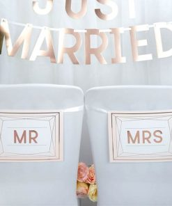 Geo Blush Wedding 'Mr & Mrs' Wedding Chair Bunting
