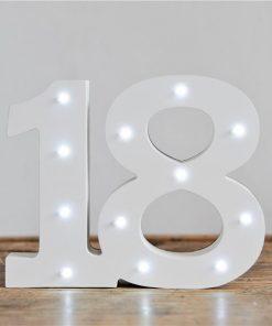 Light Up Number 18 Decoration