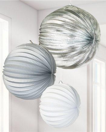 Metallic Silver Mix Paper Lantern Decorations