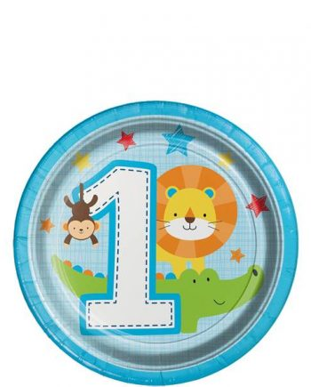 One is Fun Boy Party Paper Plates