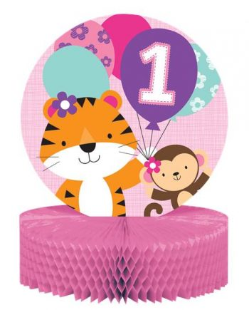 One is Fun Girl Party Honeycomb Centrepiece