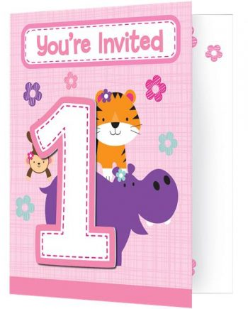 One is Fun Girl Party Invitations