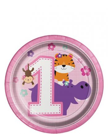 One is Fun Girl Party Paper Dessert Plates