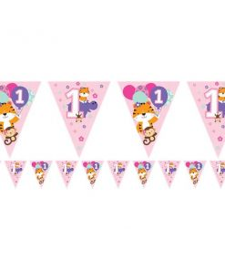 One is Fun Girl Party Paper Flag Bunting