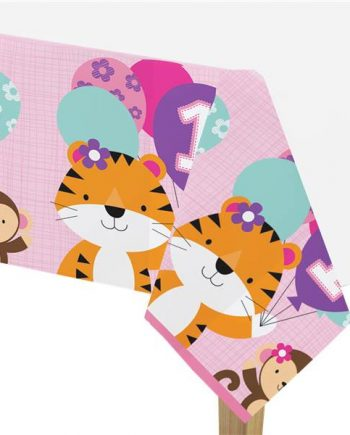 One is Fun Girl Party Plastic Tablecover