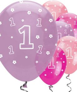 One is Fun Girl Party Printed Latex Balloons