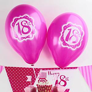 Perfectly Pink Happy 18th Birthday Balloons