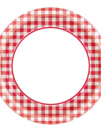 Picnic Party Red Gingham Check Paper Plates