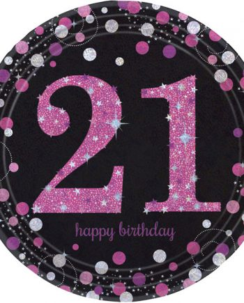 Pink Celebration Age 21 Party Paper Plates