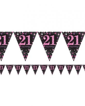 Pink Celebration Age 21 Party Prismatic Foil Bunting