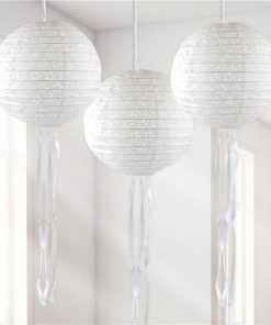White Paper Embellished Hanging Lantern Decorations