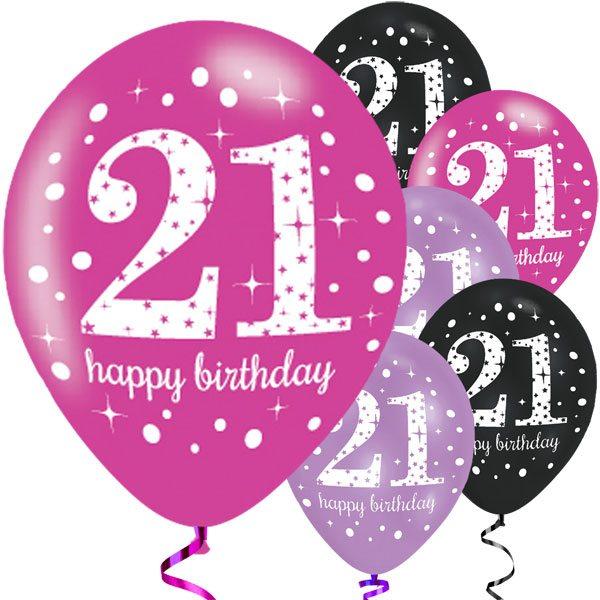 Happy 21st Birthday Pink Latex Balloons