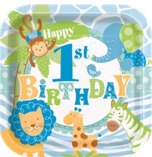 1st Birthday Safari Party Paper Plates