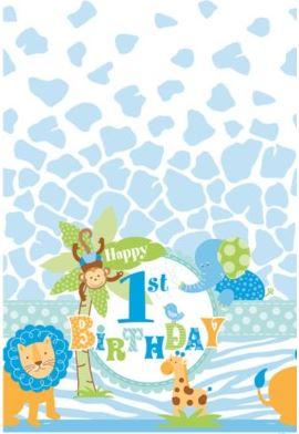 1st Birthday Safari Party Plastic Tablecover
