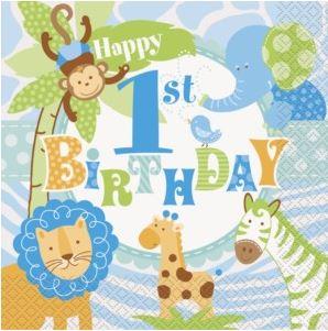 1st Birthday Safari Party Paper Napkins
