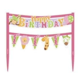 1st Birthday Pink Safari Party Cake Bunting